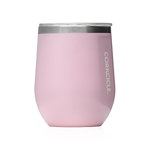 Corkcicle 12 oz triple insulated stemless glass perfect for wine gloss rose quartz micromally - Insulated stemless wine glasses ...