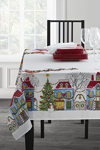 Benson Mills Thanksgiving Printed Fabric Tablecloth 60