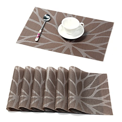 hebe placemats for dining table set of 6 durable woven vinyl kitchen table mats washable heat resistant non slip placemat easy to clean6