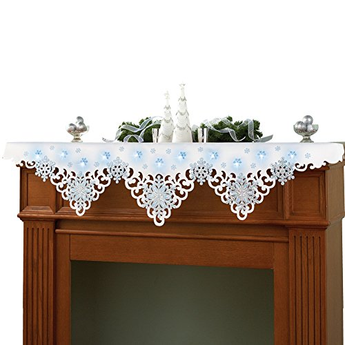 Miles Kimball White Lighted Snow Table Runner Micromally