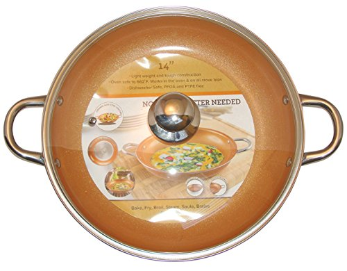 Copper Frying Pan 10 Inch Ceramic Nonstick Saute Pan With