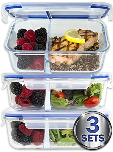 Large Premium 4 Pack 3 Compartment Glass Meal Prep