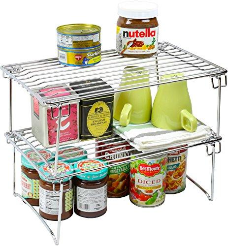 Pack Decobros Stackable Kitchen Cabinet Organizer White