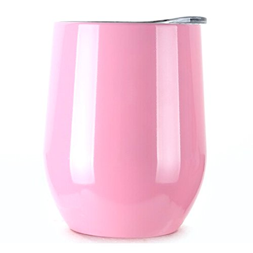 Swig 12 oz Wine Mug Sippy Cup w Lid Double Walled Stainless Steel Pink Stemless