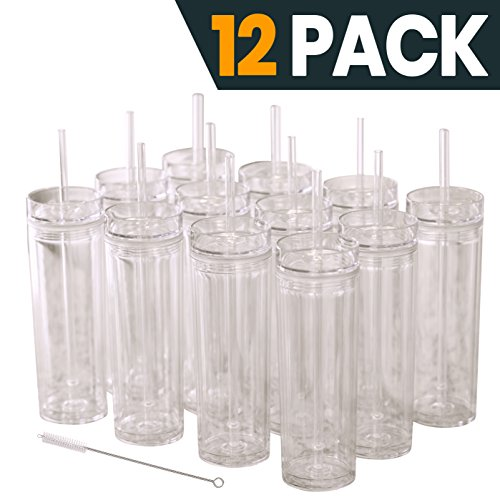 12 Clear Acrylic Tumblers With Lids And Straws Skinny