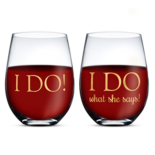 d7805f9dd9b Gifffted I Do What She Says Stemless Wine Glasses, Funny Gift for ...
