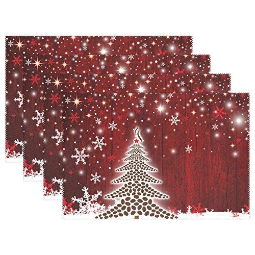 6pcs 27cm Christmas Tree Honeycombs Tissue Paper Trees: BESTOYARD 6 Pairs Christmas Coasters Placemats Waterproof