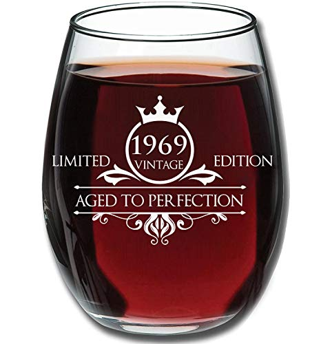 Funny Vintage Aged To Perfection 1969 50th Birthday Gifts For Women And Men Wine Glass Anniversary Gift Ideas Mom Dad Husband Wife 50 Year Old