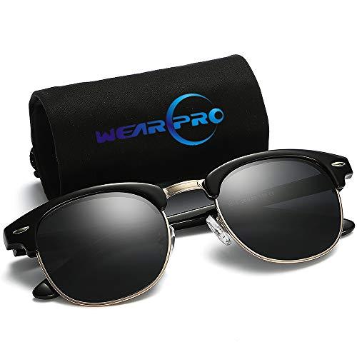 5c459c19d wearPro Retro Semi-Rimless Polarized Sun Glasses WP2006 bright black -  Clubmaster Sunglasses for Men Women
