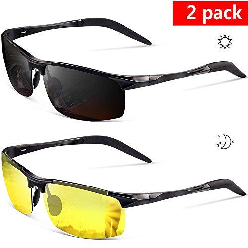 2bd194e93 Feirdio 2 Pack Sports Metal Frame Driving sunglasses 2266 - Polarized  Sunglasses for Men Night Driving Glasses
