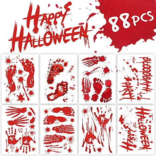 Beistle Microwave Door Decoration with Zombie Car Cling Sheet and Bloody Handprint Clings